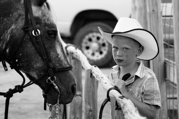 Young Cowboy at Rodeo in Bandera Texas