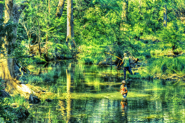 Fishing in Onion Creek at McKinney Falls State Park